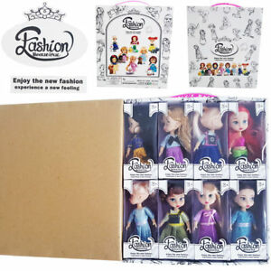 8 Famous Disney Princess Action Figures Doll Kids Child Girl Pretend Playset Toy