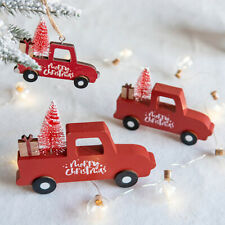 Christmas Truck Xmas Tree Hanging Wooden Pendant Ornaments Home Decor Kids Gift