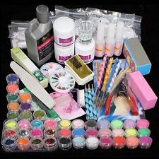 Nail Art Acrylic Glitter Powder Rhinestone Drawing Pen Brush UV Gel Kit Tips F@