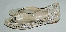 Leather White House Black Market Silver Snake Rnd Toe Metallic Ballet Flats  8M