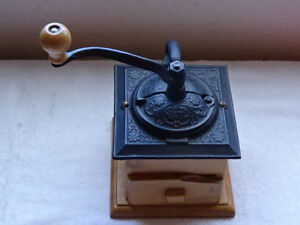 Antique Reproduction COFFEE GRINDER Made with ancient myrtle wood from OREGON