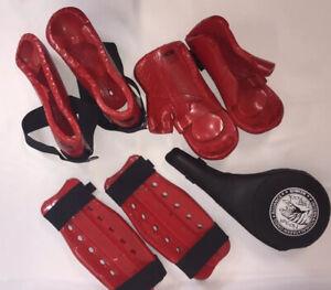 Martial Arts Sparring Gear Set Macho Hands Feet & Shin Pads Bag