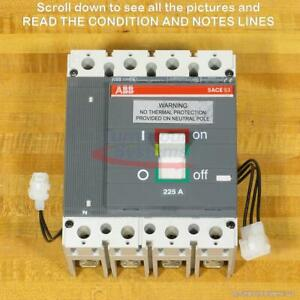 ABB S3NQ225T Breaker, 225 A, 4 Pole GFI, 100% Rated, Shunt Trip, Aux Switch, NEW