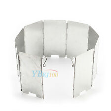 Fold Cooker Gas Stove Metallic Wind Shield Camping Windscreen 9 Survival Plates
