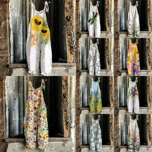 Womens Loose Plus Size Overalls Jumpsuit Dungarees Floral Wide Leg Pants Rompers