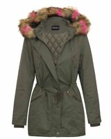 Womens Coat Brown Long Outdoor Hooded Parka Khaki Fur Jacket Winter UK8-16