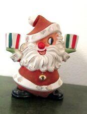 Rare Vintage Holt Howard Flocked Santa Candle Holder #836