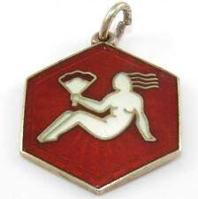 David Andersen Norway Sterling Silver Red Enamel Virgo Charm Pendant