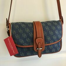 DOONEY & BOURKE LARGE EQUESTRIAN SIGNATURE CROSSBODY HANDBAG DENIM LEATHER NWT