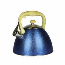 Blue Whistling Kettle 3L Stainless Steel Hob Stove Gas Induction Fast Boil Gift
