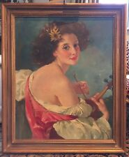 MARIA SZANTHO Listed ART Oil Painting Romantic Woman VIOLIN PLAYER HUNGARY 1950