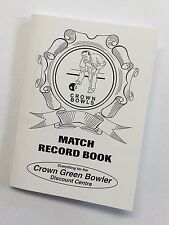 Crown Green Bowls Match Record Book