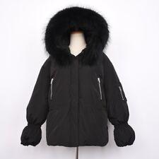 Women Down Jacket Real Fur Collar Puffer Coat Winter Hooded Oversize Parka 37508