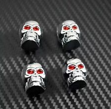 4 Pack Cool Rock n 'roll Chrome Skull Auto Pneumatico Valvola Polvere CAPS TIRE WHEELS BIKE