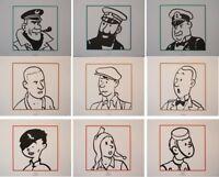 HERGE (d'après) : TINTIN - Les personnages -  9 Lithographies EX LIBRIS #2011