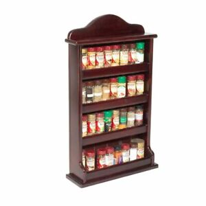 Spice Rack - Wooden - Crown - 4 Tiers - Solid Timber Fence - 32 Spice Jars