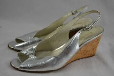 RUSSELL & BROMLEY silver metallic leather cork wedges slingbacks 38 peep toe