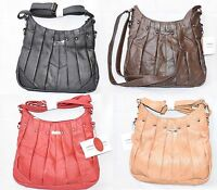 Soft Real Leather Shoulder Bag Hand Bag Purse Top Zip with Pleated & Stud Lorenz