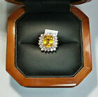 18k White Gold 5.94ctw Natural Cushion Yellow Sapphire & VS White Diamond Ring