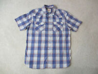 Levis Pearl Snap Shirt Adult Medium Blue Red Plaid Rodeo Western Cowboy Mens A10