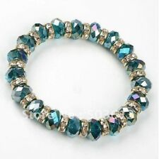 Peacock Green Crystal Faceted Bracelet with Silver Diamante Spacer Beads