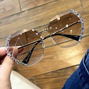 2021 Hand-made Rhinestone Sunglasses Women Fashion Oversized Square Shades UV400