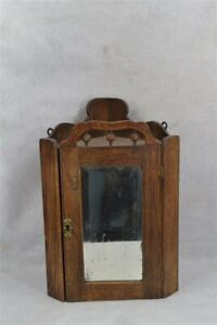 old early oak corner cabinet wall hanging mirrored stick ball 19th c original
