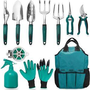 Garden Tool Set, 11 Piece Aluminum Alloy Steel Hand Tool Starter Kit with Garden