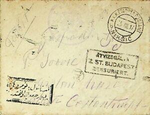 MONTENEGRO HUNGARY 1917 WWI KUK FELDPOST BUDAPEST CENSOR COVER TO TURKEY