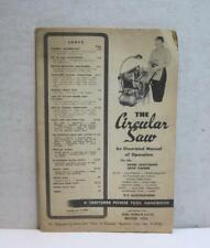 1954 Sears Craftsman Circular Saw An Illustrated Manual of Operation Handbook