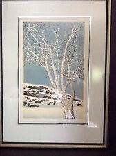 Ted Colyer Japanese Woodblock Print Silver Leaf Winter Tree Numbered Signed
