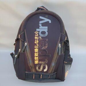 RARE SuperDry Luggage Travel Edition Backpack Orange Black Thick Strap Japan