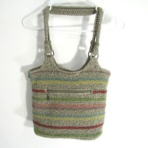 The Sak Crochet Casual Classic Tote WOODLAND STRIPE Large Handbag Shoulder Purse