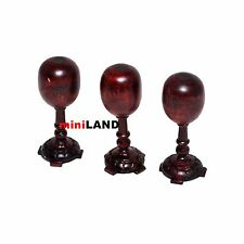 3PCS QUALITY HAT STANDS FOR DOLLHOUSE MINIATURE MAHOGANY WOOD 1:12