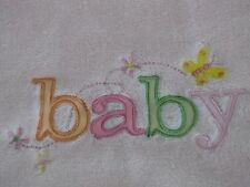 CARTERS Baby Blanket Pink Embroidered BABY BUTTERFLY FLOWERS EUC Security