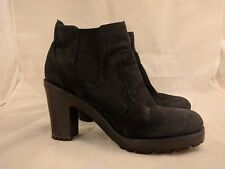 Sperry Topsider High Heel Black Leather Boots Women's Size 9 M Round Toe Shoes