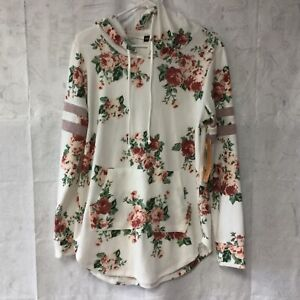 NWT Almost Famous Hooded Sweater Junior Size XL Floral Roses Fleece Long Sleeve