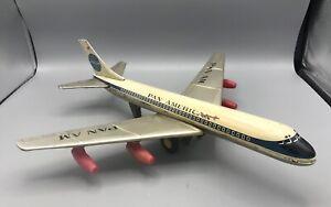 Vintage HTC Tin Pan American AM Boeing Friction Jet Airplane Toy - Japan N715PA