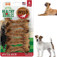 Dog Chew Treats Long Lasting Bison Snack Bones 8 Pieces Wild Natural Pet Pack