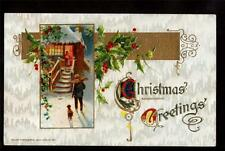 1911 winsch bringing home firewood scene christmas postcard