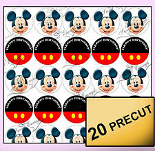 20Precut Mickey Mouse Edible Wafer Rice Paper Cup cake Topper Birthday personal