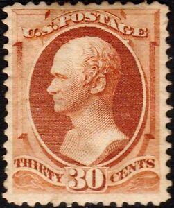 US Sc # 217 UNUSED RG H { -VF- CENTERED } 30c HAMILTON BANKNOTE OF 1888 SERIES