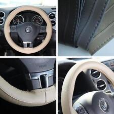 BEIGE PVC Leather Steering Wheel Wrap Cover w/ Needle Thread DIY Fiat Ram Truck