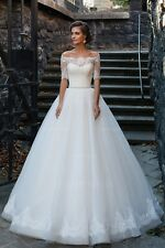 Vintage Lace Wedding Dress Crystal Belt Bridal Gown Illusion Bodies Half Sleeves