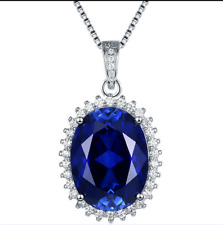 Top Quality Big 13x18mm Blue Oval Cut Sapphire Sterling Silver Pendant Necklace
