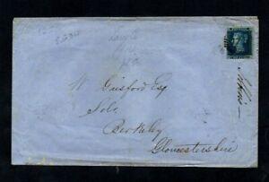 1856. COVER. QV 2d BLUE LARGE CROWN P14. LONDON-BERKELEY (GLOS). SG 34. c£200+