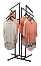 Clothing Rack 4 Way Slant Arms Black Clothes Adjustable 48 72 H Retail Display