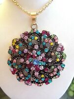 BETSEY JOHNSON BEAUTIFUL MULTICOLOR CRYSTAL INLAY FLOWER PENDANT NECKLACE