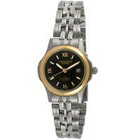 Women's Two-Tone Steel Analog Wrist Watch /w Black Dial Bracelet By Timetech