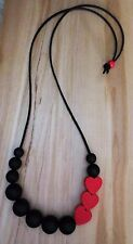 Fashion chunky Silicone & Wooden beaded, Black Red beads statement Necklace